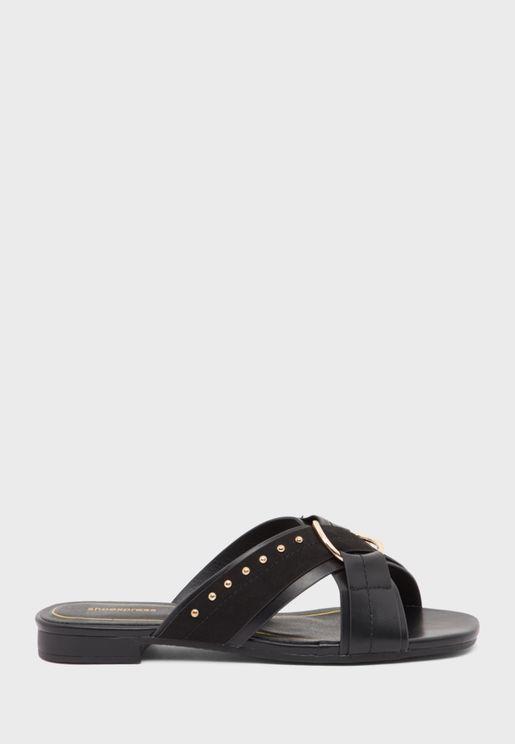 Cross Strap Low Heel Sandal