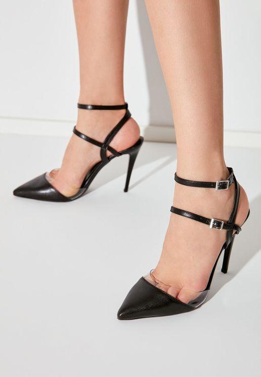 Ankle Strap Mid Heel Pump