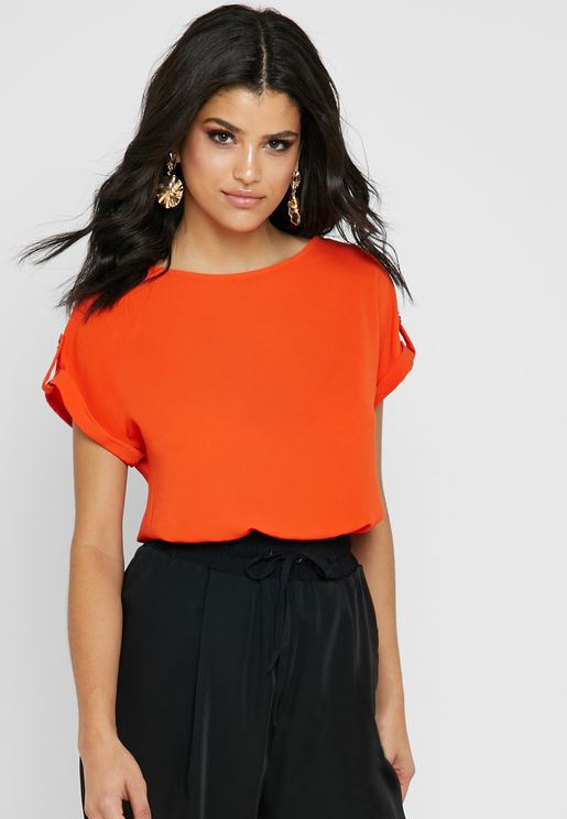 High Low Roll Sleeve Top