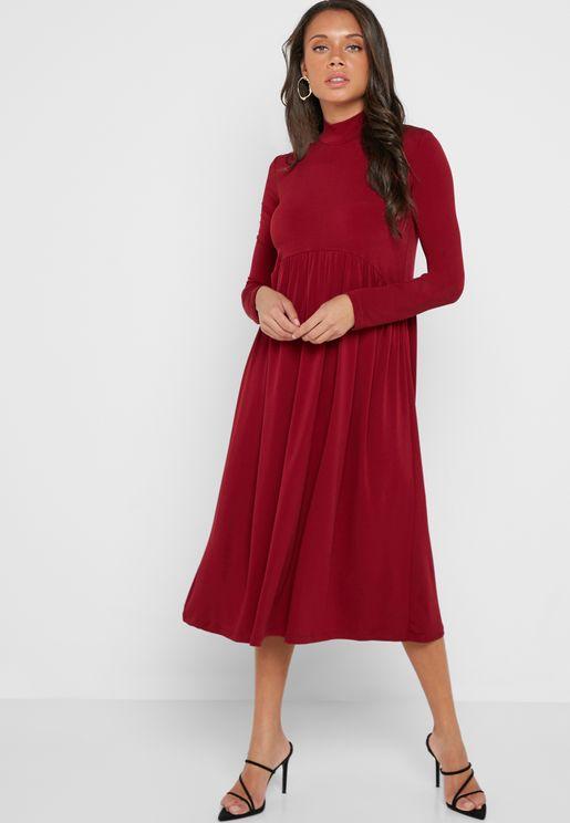 High Neck Pleated Skirt Midi Dress