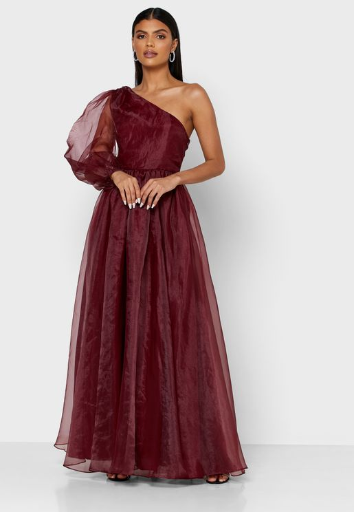 Puff Sleeve One Shoulder Dress