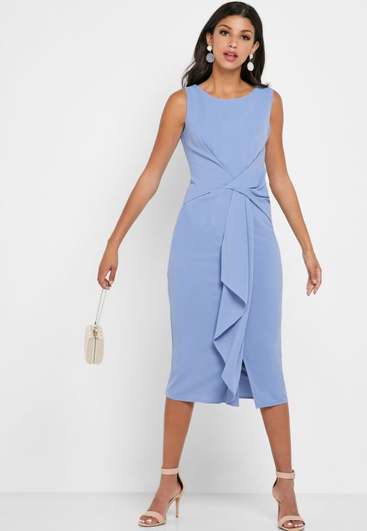 Asymmetric Neck Ruched Detail Dress