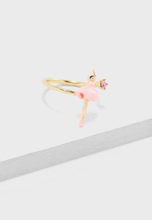 Mini Ballerina In Pink Tutu Adjustable Ring