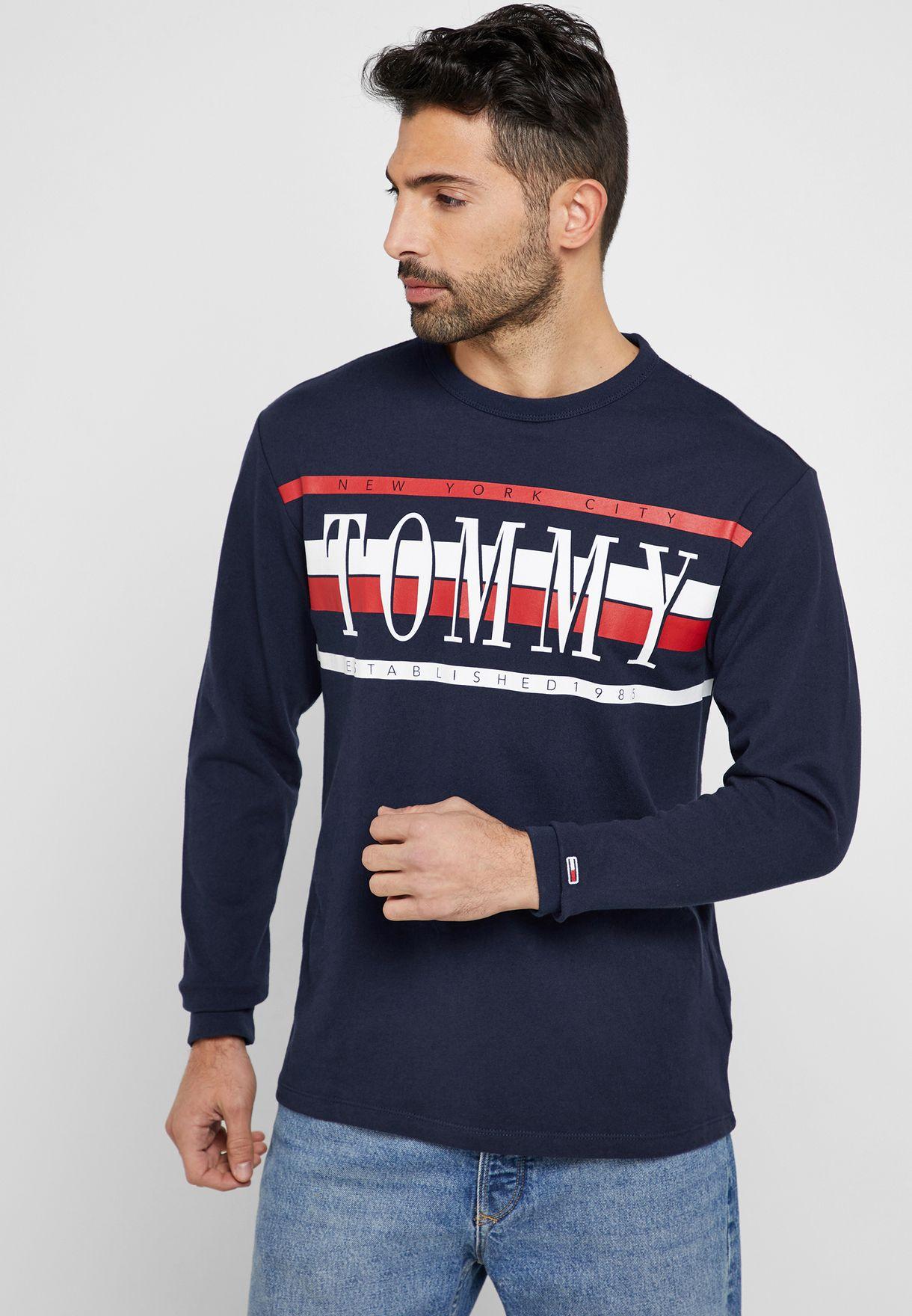 4079d0d51d Shop Tommy Jeans black Retro Crew Neck T-Shirt DM0DM06088 for Men in Oman -  24392AT62LVP