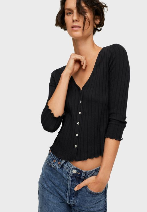 Ribbed Button Down Top