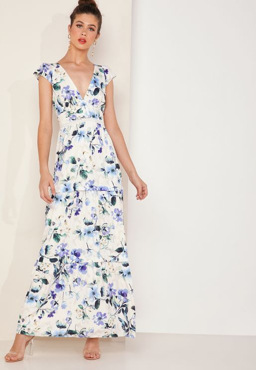 Ressie Floral Print Capped Sleeve Tierred Maxi Dress