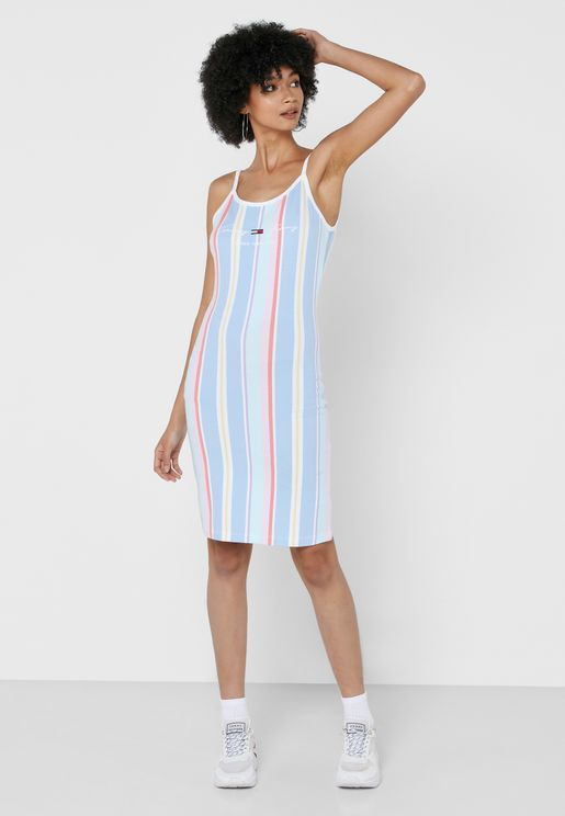 Logo Stripe Starp Dress