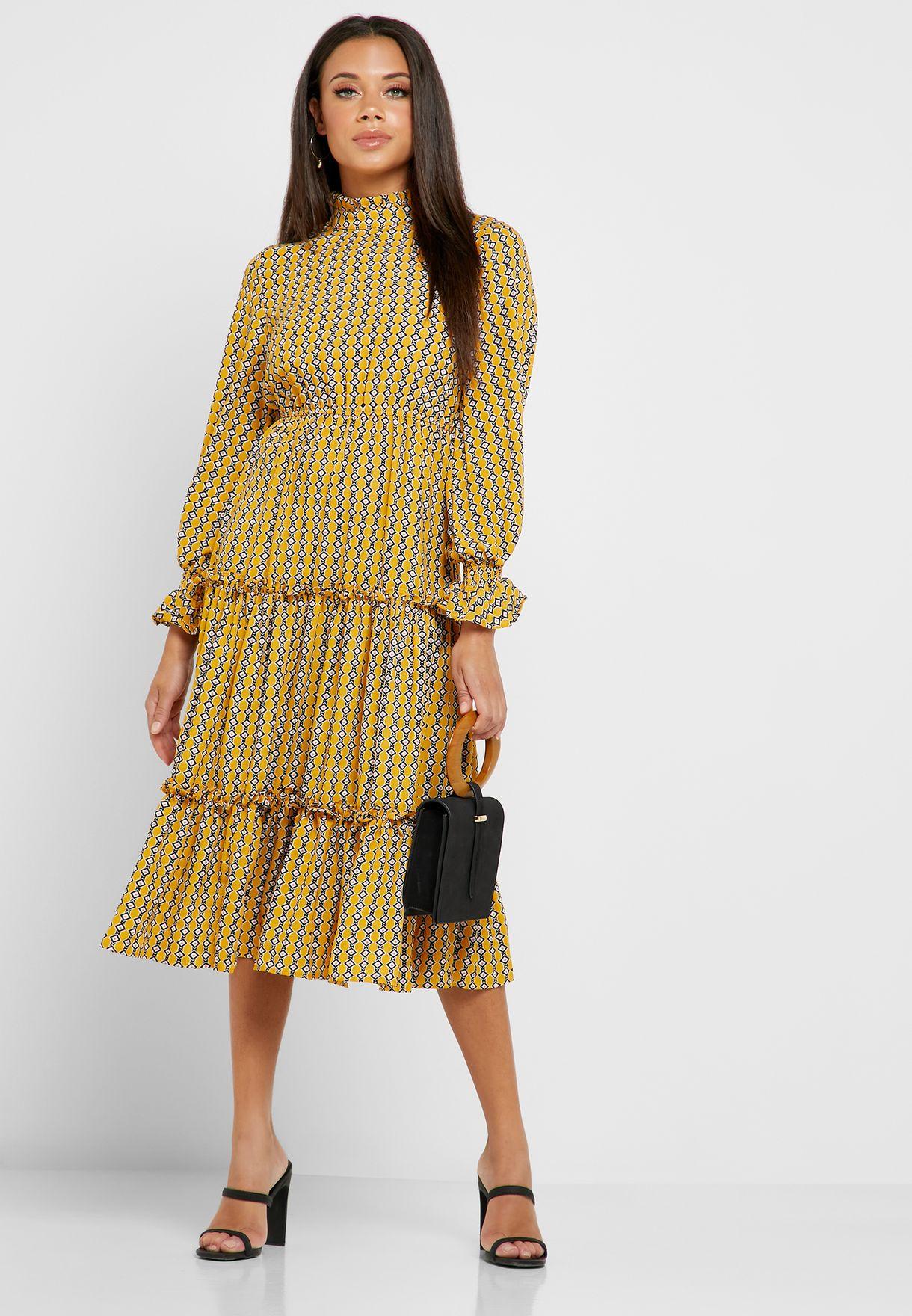 فستان ميدي مطبع بطبقات