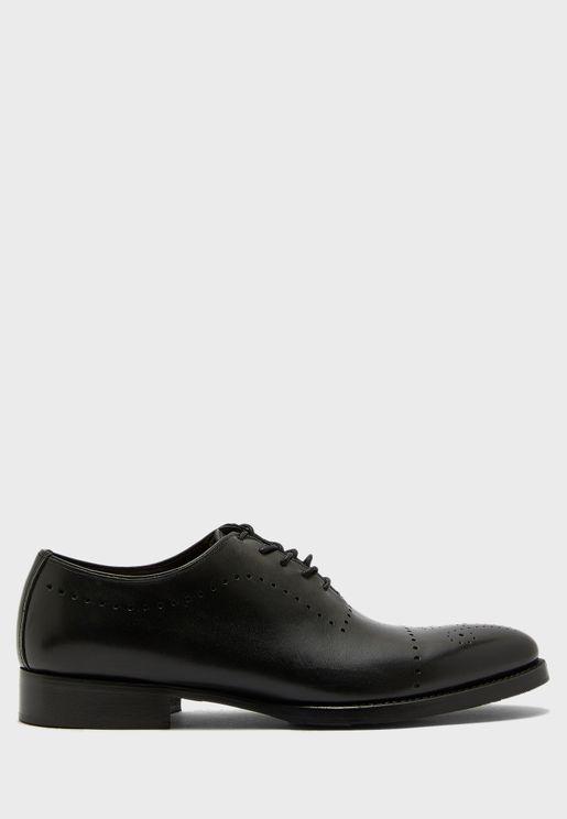 حذاء جلد اصلي باربطة
