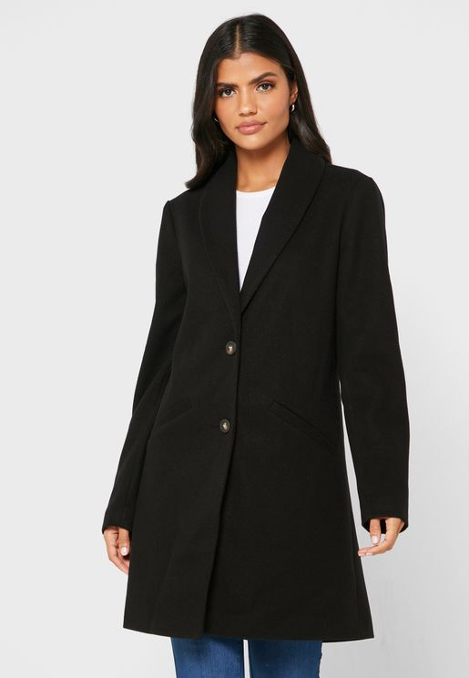 Pocket Detail Longline Coat