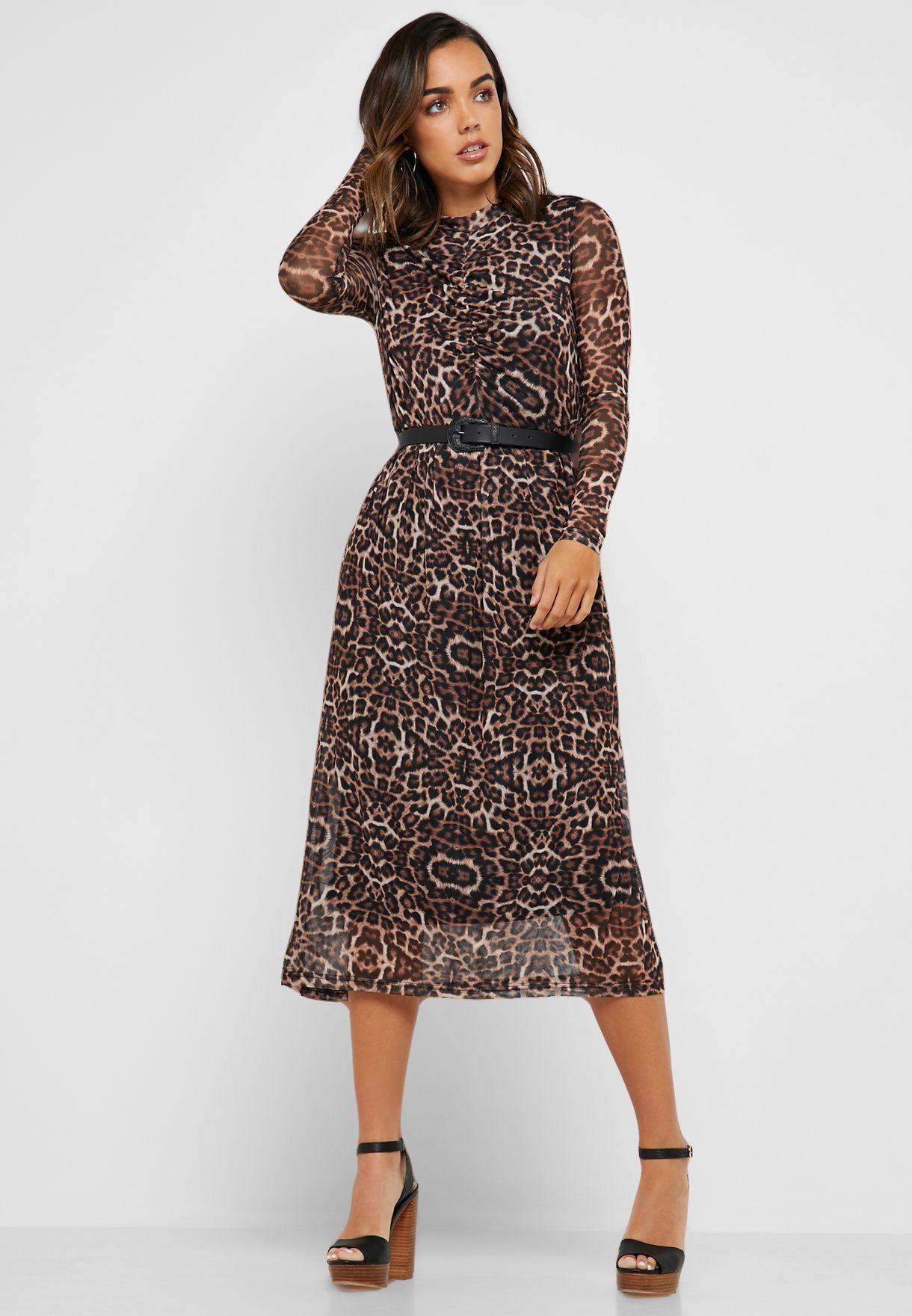 Leopard Print Mesh Overlay Dress