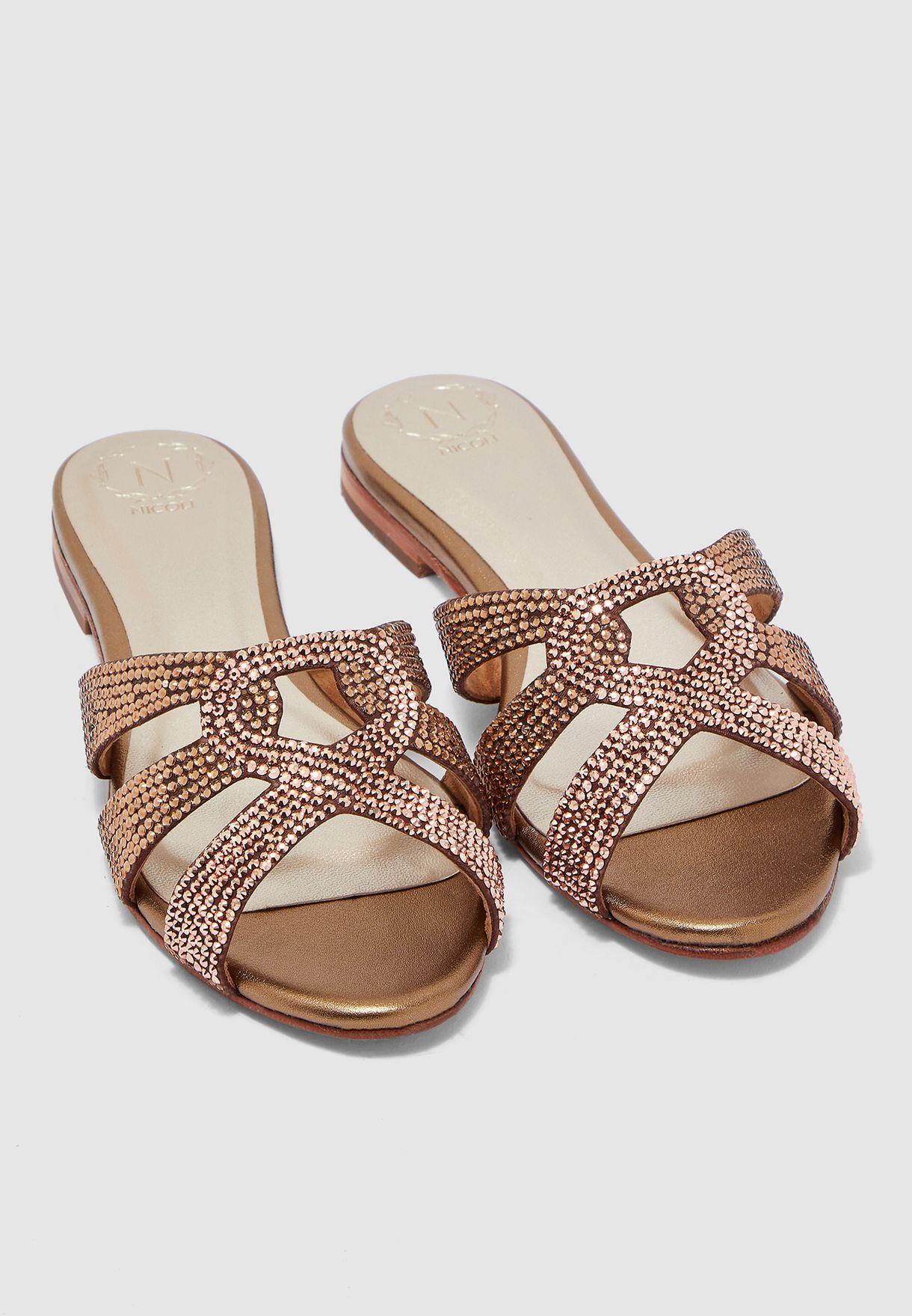 Korale Embellished Strap Block Heel Sandal - Brown