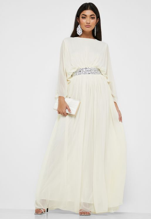 d28e2735835 Embellished Self Tie Maxi Dress