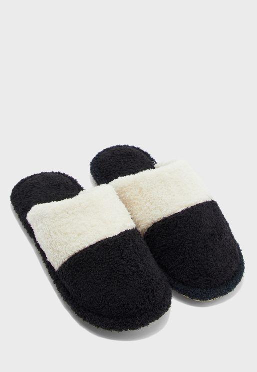 Men's Colour Block Bedroom Slippers