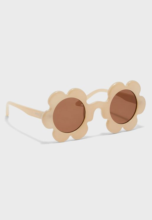 Kids Flower Detail Round Sunglasses