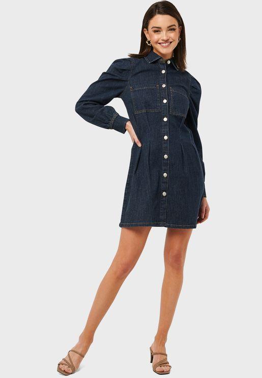 فستان جينز بأكمام منفوشة