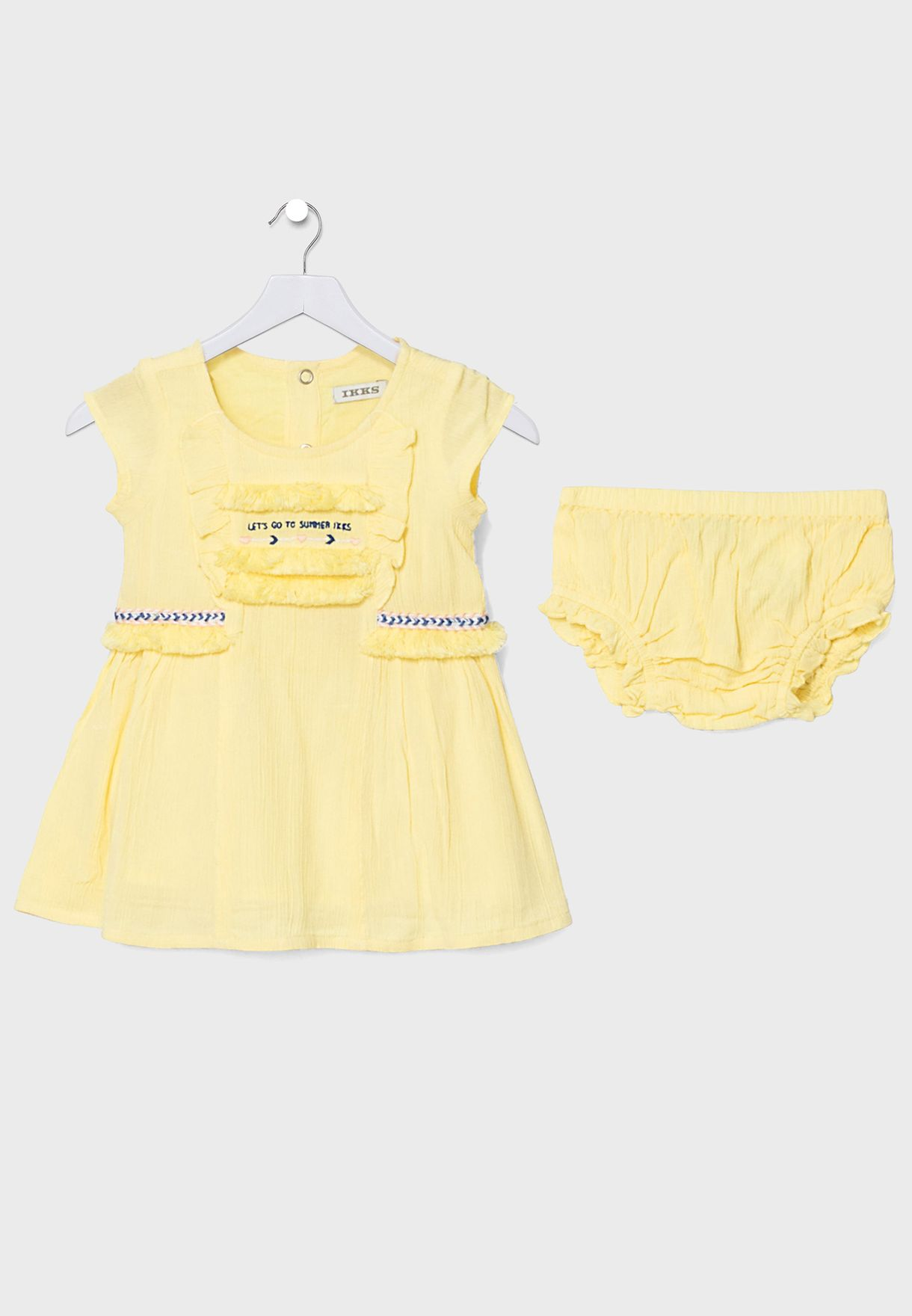 Kids Embroidered Dress + Knicker Set