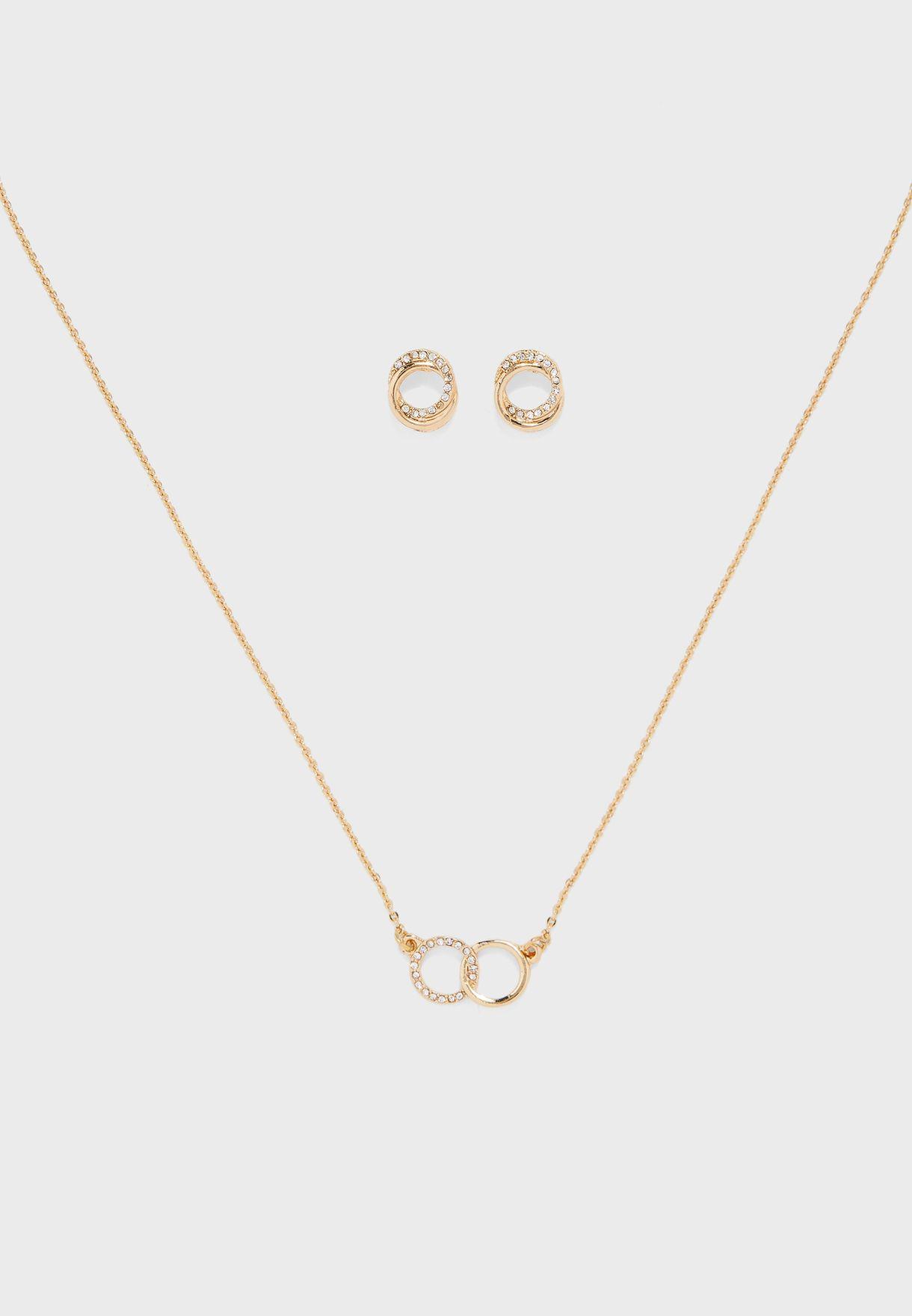 Diamante Detail Necklace & Earrings Set