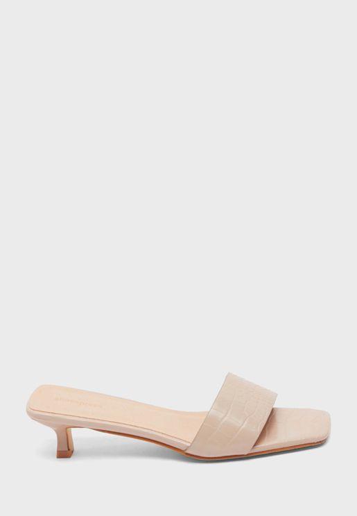 One Strap Low Heel Sandals
