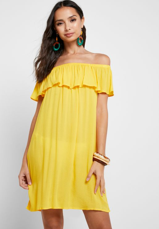 Printed Bardot Beach Dress