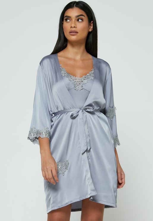 2 In 1 Lace Trim Nightdress Robe