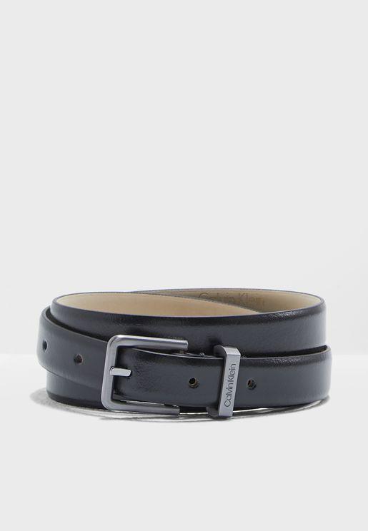 حزام جلد اصلي في تصميم بوجهين