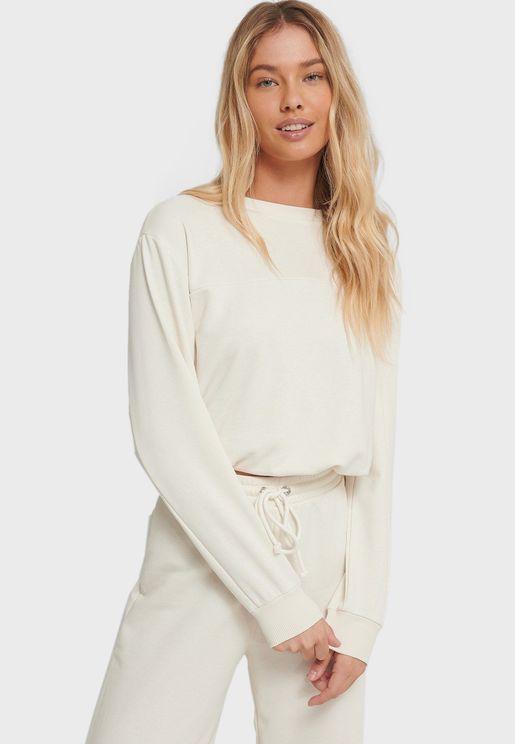 Crop Drawstring Sweatshirt