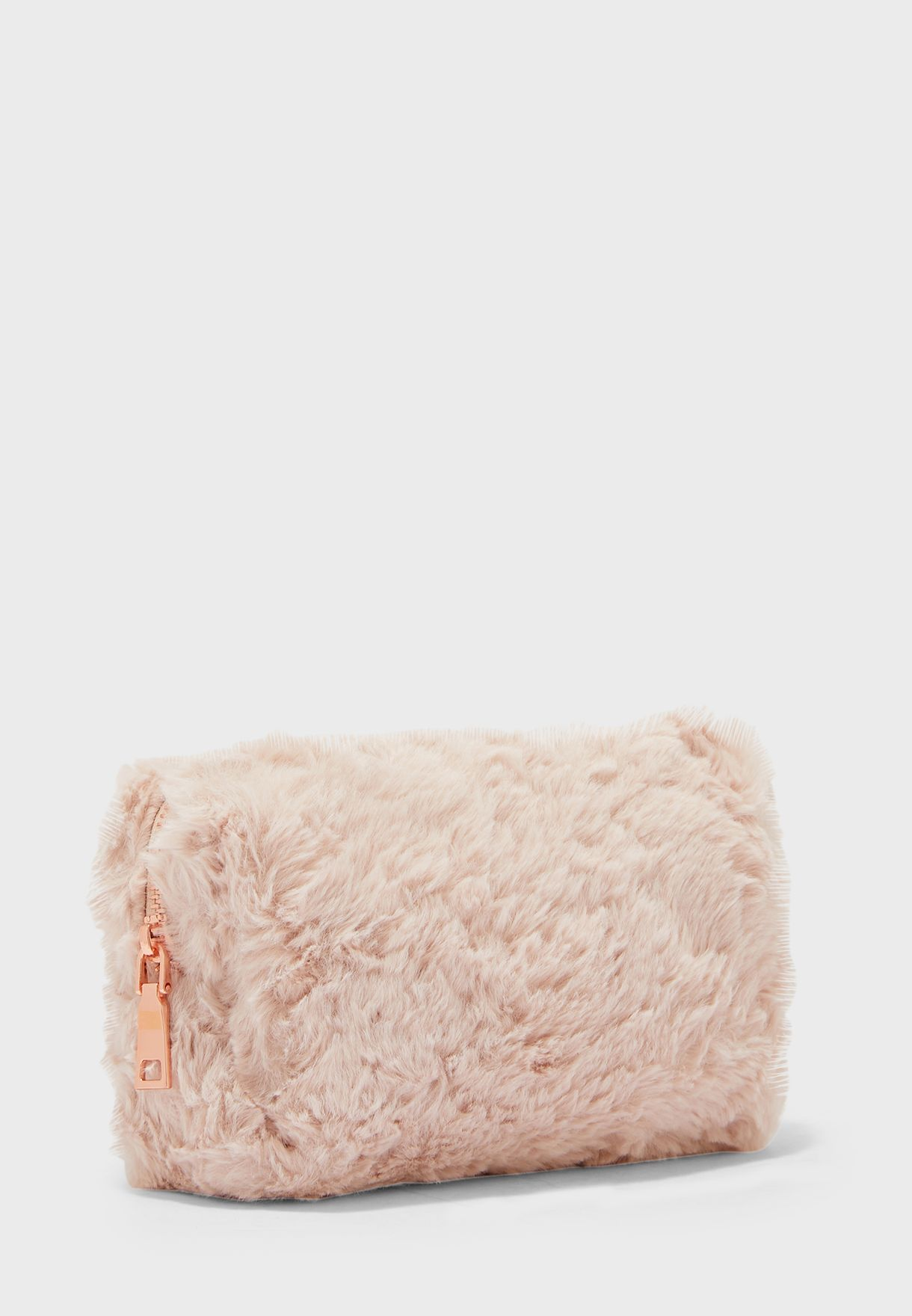 Pink Faux Fur Cosmetic Bag