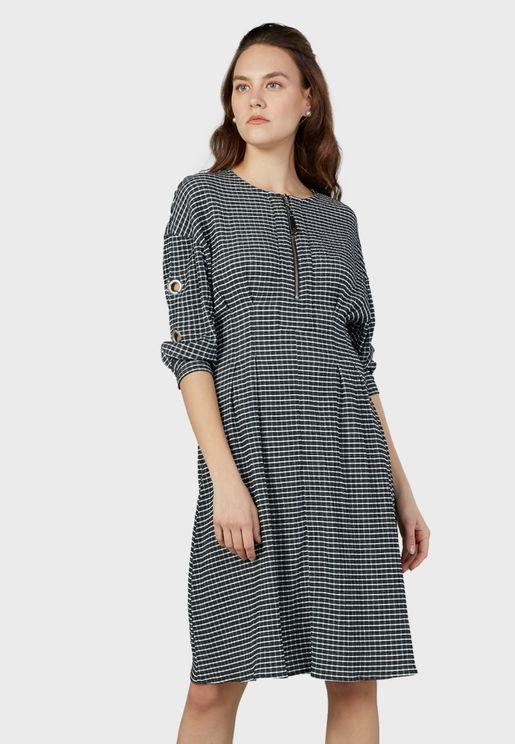 Zip Detail Checked Dress
