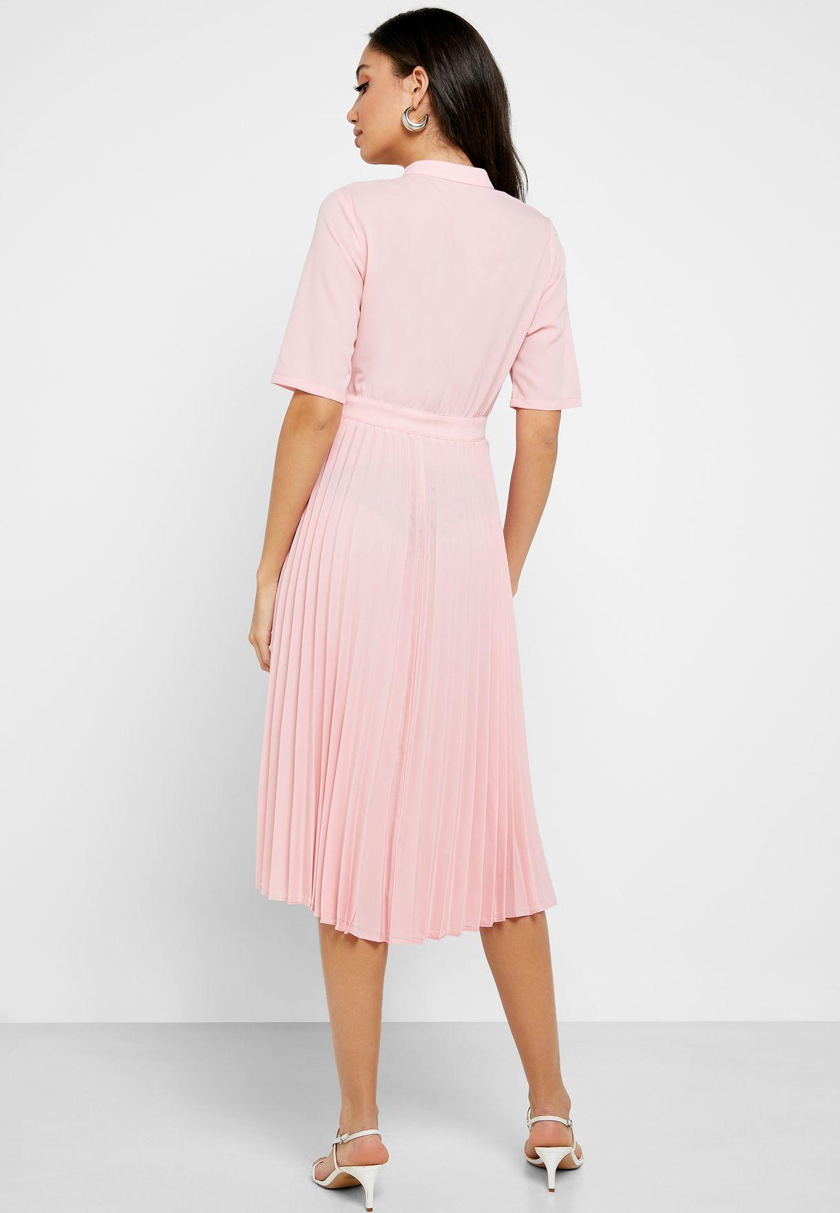 Pleated Skirt Midi Dress