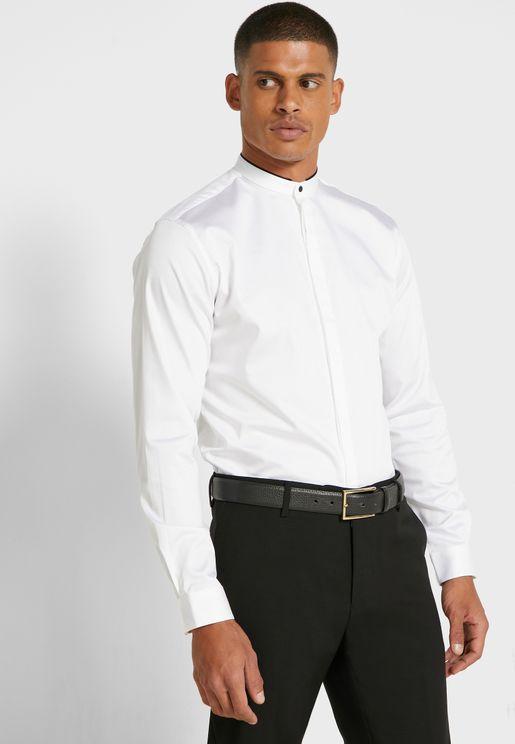 Grandad Collar Slim Fit Shirt