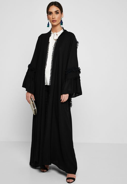 Ruffle Detail Pleated Abaya