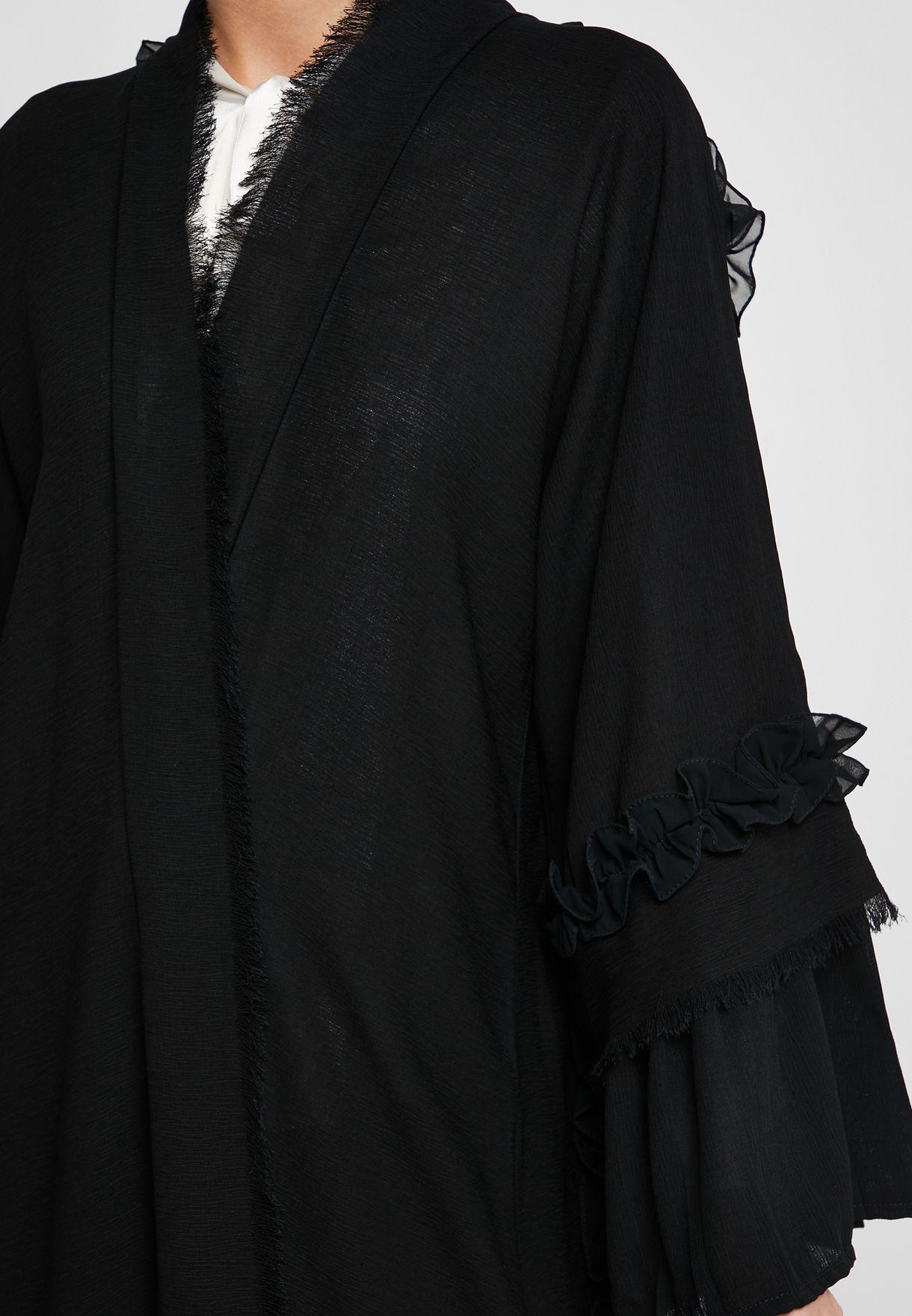 Ruffle Detail Pleated Abaya