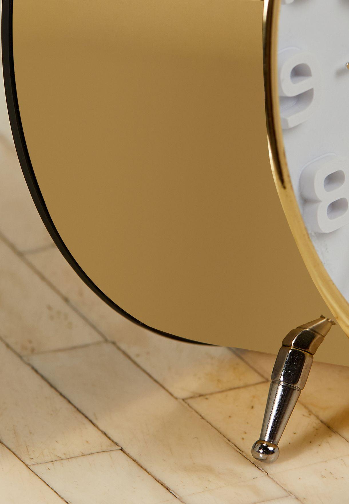 Brushed Gold & White Alarm Clock