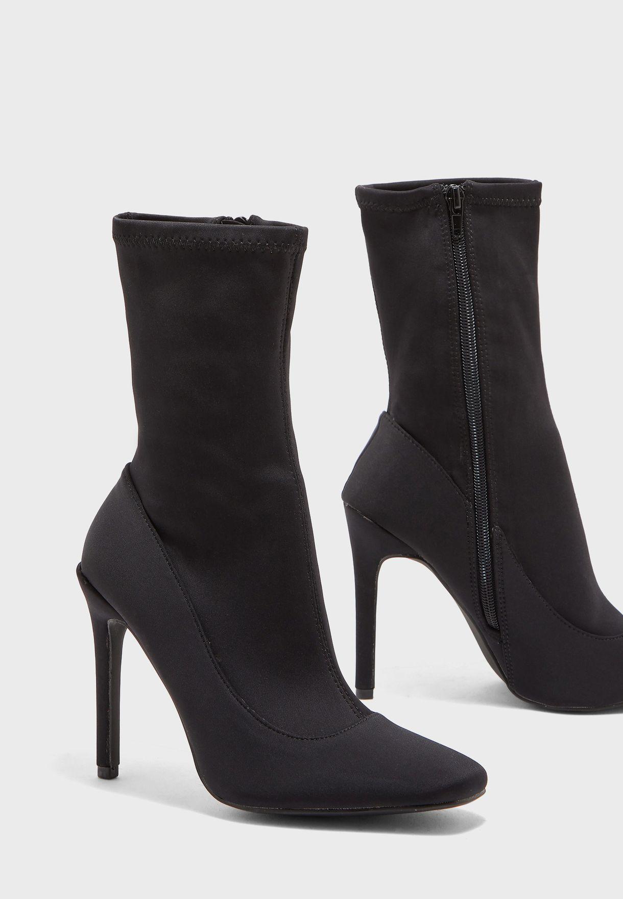 Square Toe Stiletto Heel Sock Boot