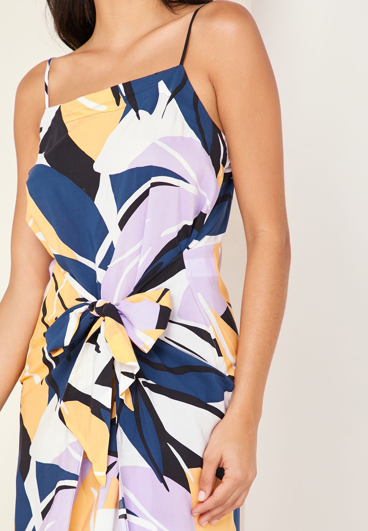 Printed Wrap Front Beach Dress