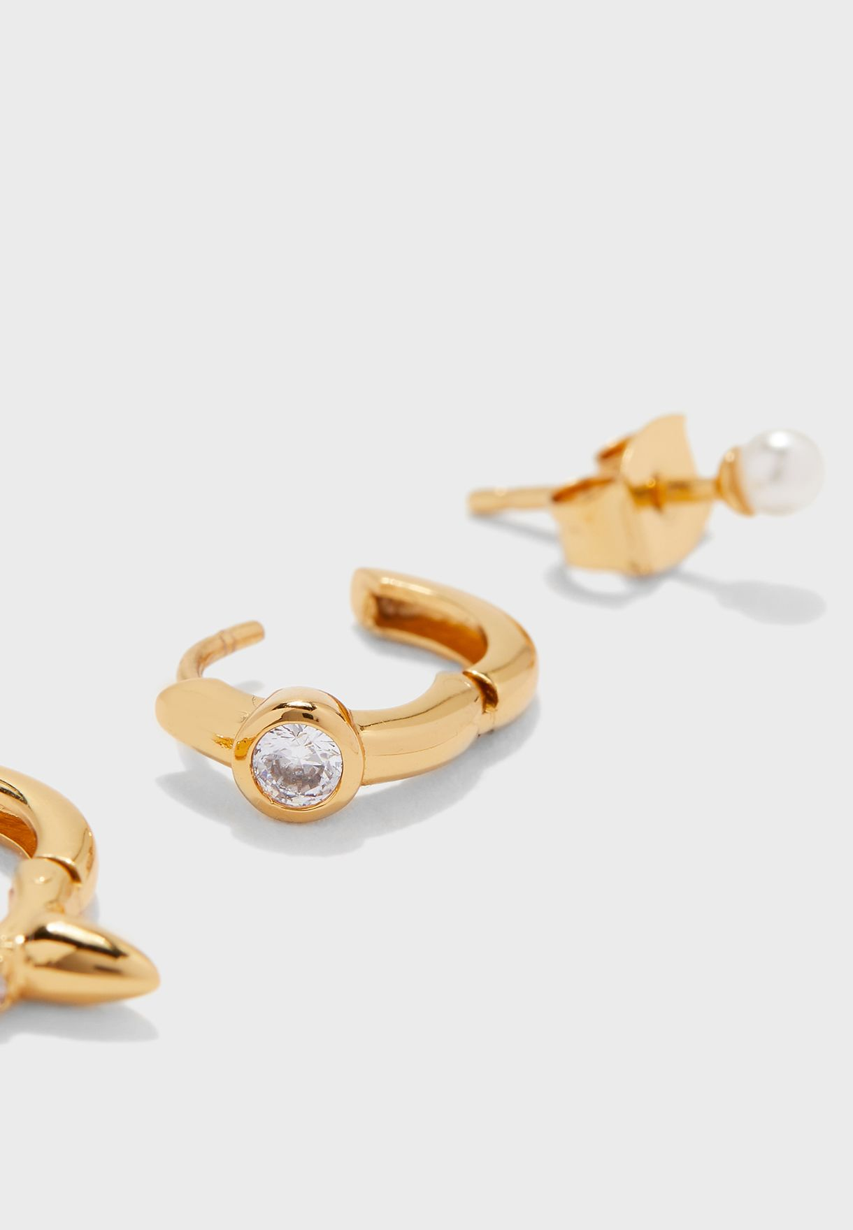 Crystal Spike And Pearl Huggies Hoop Earrings