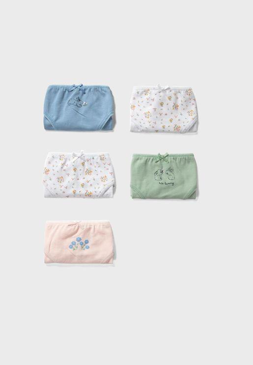 Kids 5 Pack Knot Detail Underwear
