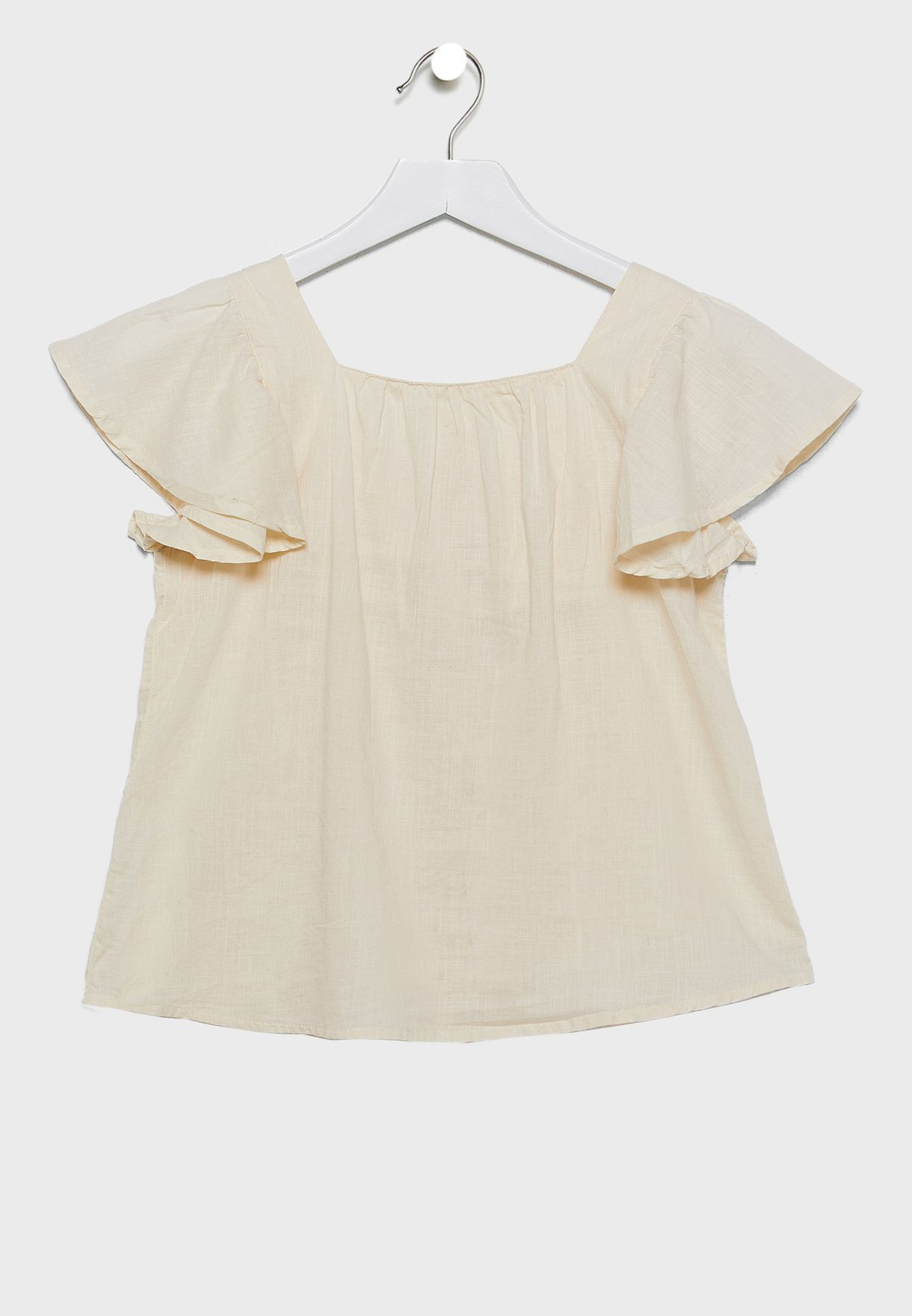 Kids Ruffle Sleeve Button Front Top