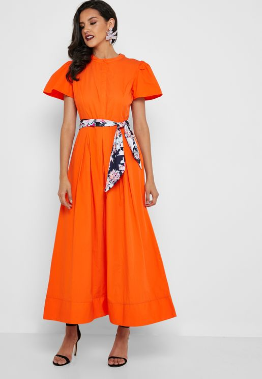 Bell Sleeve Belted Maxi Shirt Dress