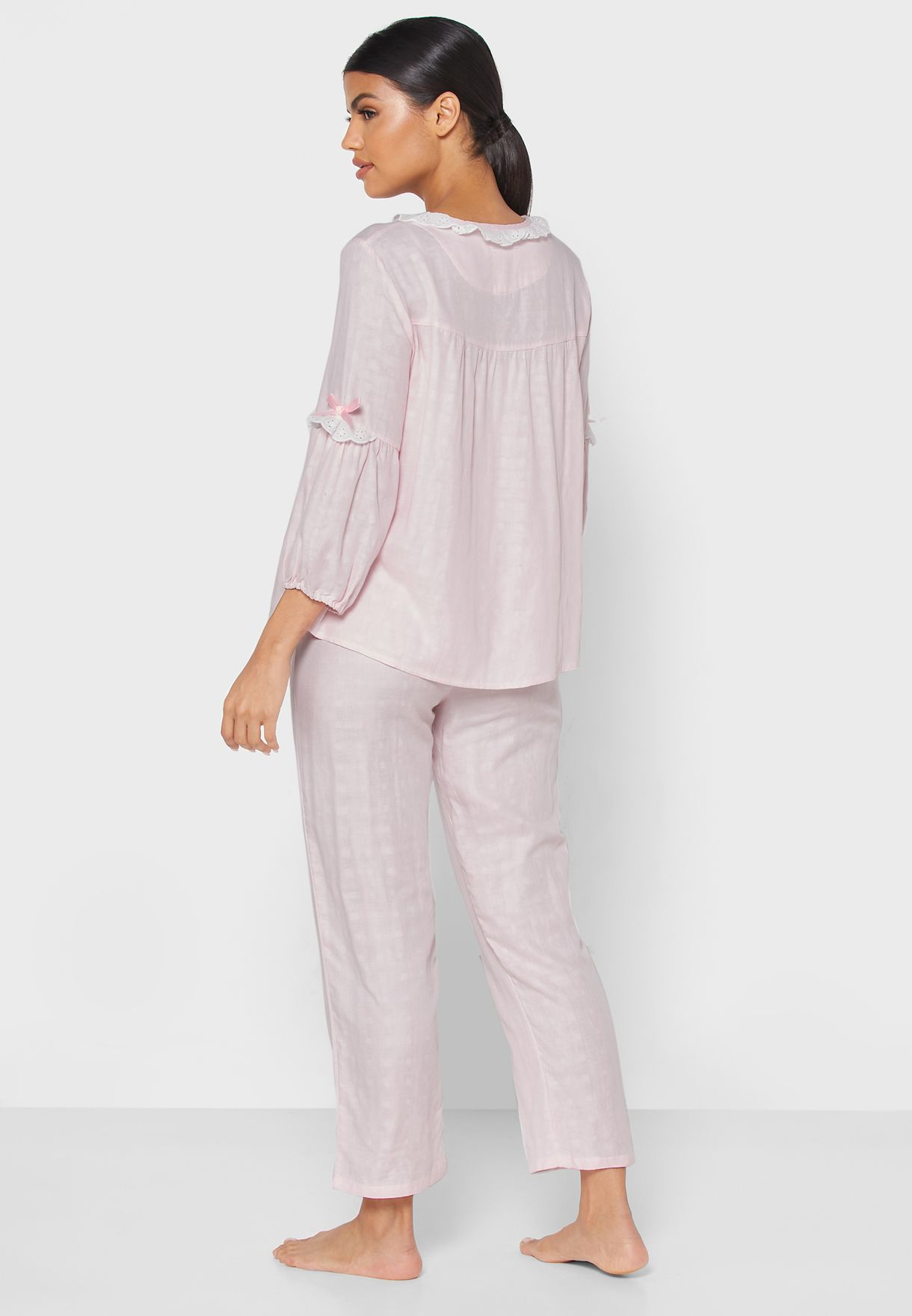 Lace Insert Shirt Pyjama Set