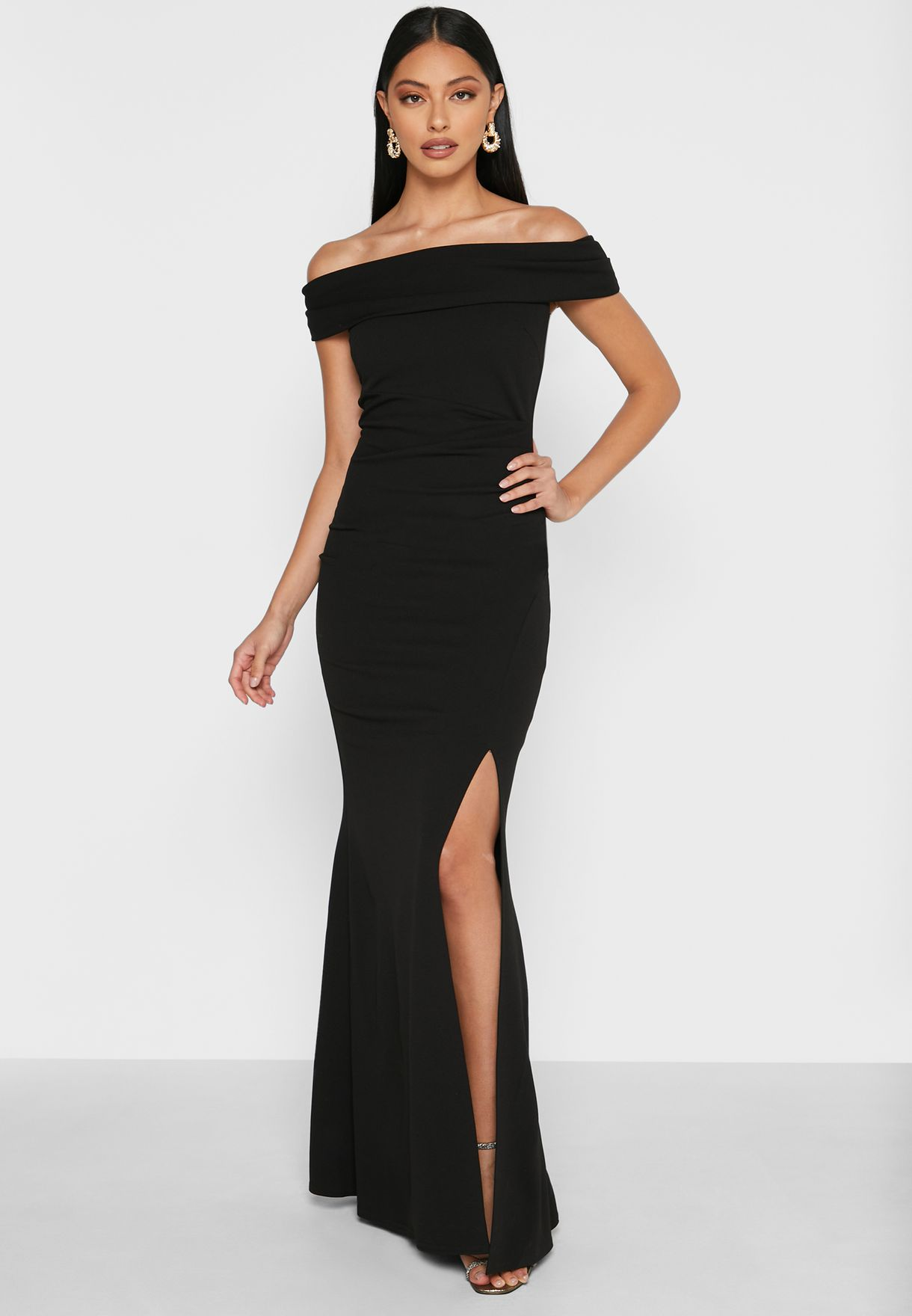 Side Split Bardot Maxi Dress