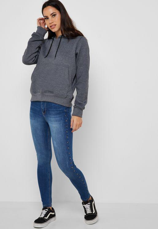 Studded Side Paneled Skinny Jeans
