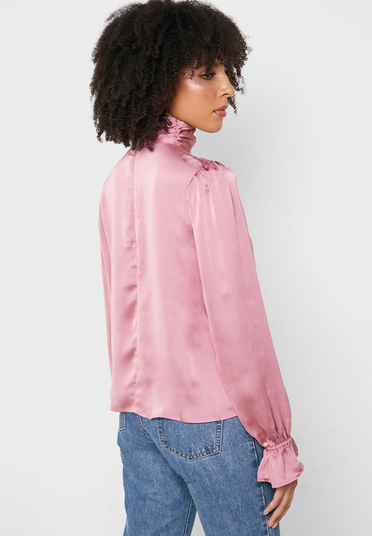 Front Tie High Neck Top