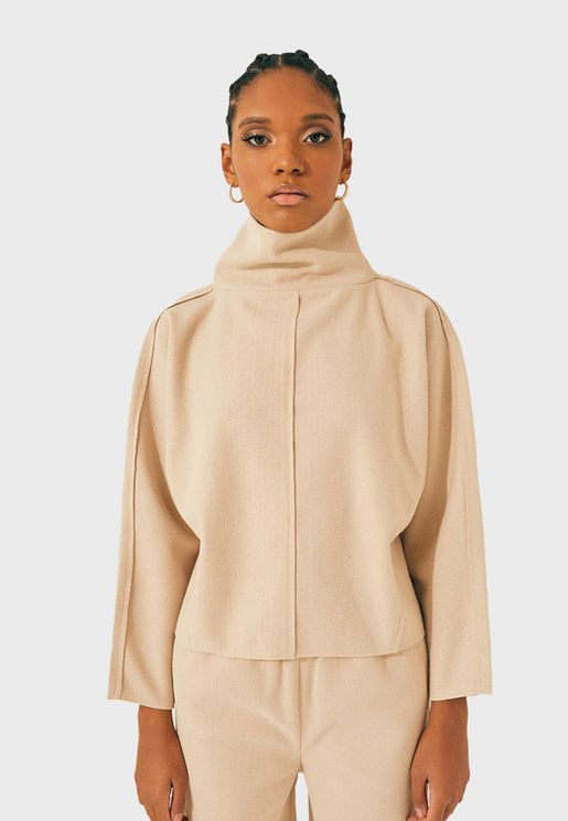 Seam Detail Turtleneck Top
