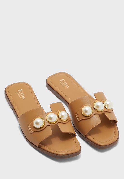 Triple Pearl Detail Flat Sandal