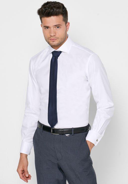 Oxford Cutaway Double Cuff Slim Fit Shirt