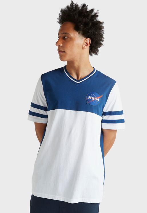 Colour Block V-Neck T-Shirt