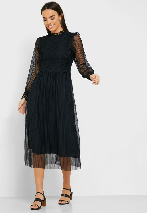 High Neck Lace Trim Mesh Sleeve Dress