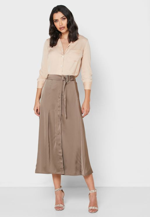 Detailed Belted Midi Skirt